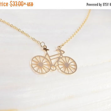 SALE 20% Off - BICYCLE NECKLACE, Bike Necklace , High Quality Gold Plated 2.5 Micron, Friendship gift, Dainty Necklace, Wedding Gifts, Handm