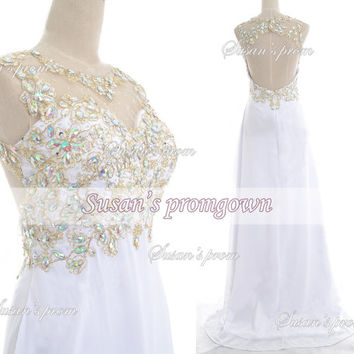 Straps with Beads Backless White chiffon Long Dresses, Prom Dress,Evening Dress,Wedding Dress