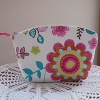 Shabby Chic Cosmetic Bag Clutch Zipper Purse Colorful Flowers  Made in the USA Bridal Wedding
