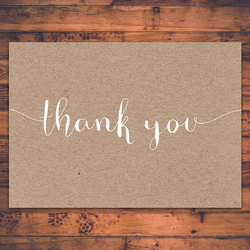 Instant Download Printable Thank You Card Script Typography Kraft Paper Greeting Card Foldable Card Digital Print