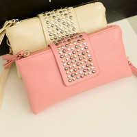 Trendy Leather Rivet Clutch Purses
