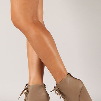 Wild Diva Lounge Lorelei-12A Peep Toe Lace Up Wedge Bootie