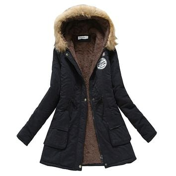 Winter Coat Women 2017 New Parka Casual Outwear Military Hooded Thickening Cotton Coat Winter Jacket Fur Coat
