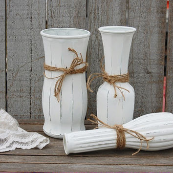Vases, White, Shabby Chic, Jute, Painted, Distressed, Glass, Hand Painted, Painted Vases, Wedding Decor, Rustic, Country