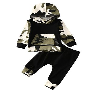 2018 Autumn Spring Infant Clothes Baby Clothing Sets Baby Boys Camouflage Hoodie Tops Long Pants 2pcs Outfits Sets 0-2T Hsp010