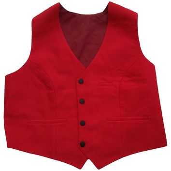 Women's Red Tuxedo Vest With 4 Buttons