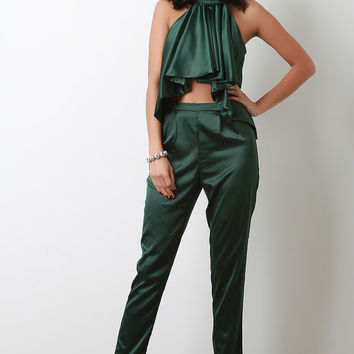 Satin Crepe Ruffle Halter Top with Matching Pants Set | UrbanOG