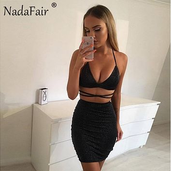 Nadafair Two Pieces Set Women V Neck Halter Shine Sexy Club Dress Sunner Midi Bodycon Party Dress