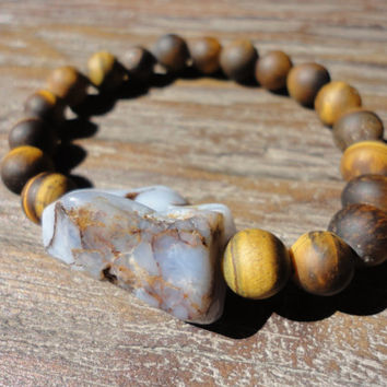 Tiger eye and Chalcedony Beaded Bracelet/Brown Beads/Blue and Brown