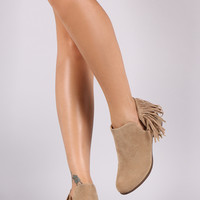 Suede Back Fringe Side Cutout Booties