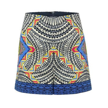 Retro Folk Style Shorts With Floral Print In Blue