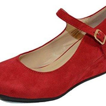 Haphop Womens Almond Toe Mary Jane Mid Heel Wedge Pump Shoes