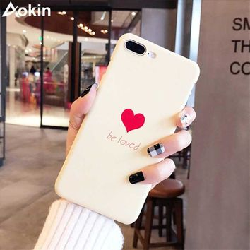 Aokin Lovely Heart Painted Phone Case For iphone 6 7 8 Case Fashion Couples Back Hard PC Cover Cases For iphone X 6 6s 7 8 Plus