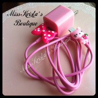 New cute hello kitty pink iPhone 5 case wall charger polka dot black bow