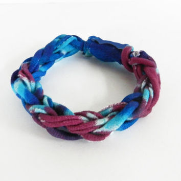 Woven Bracelet - Knitted Bracelet - Jersey Knit Bracelet - Blue / Purple Bracelet - Fabric Bracelet - Cloth Bracelet - Weaved Bracelet