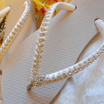 Ivory bridal flip flops with starfish and rhinestones