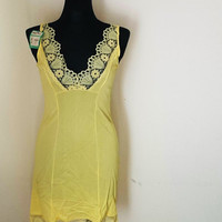 Vintage bright yellow negligee from the Soviet Union, 1960s-1970s, new with tags, S-M