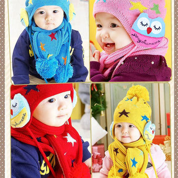 Kids Boys Girls Crochet Winter Warm Beanie Five Pointed Star Baby Earflap Hat Scarf+Cap 2pc
