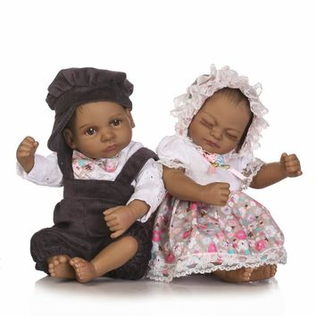 "26CM Small Black Skin Reborn Dolls Twins 10"" Full Body Ethnic Baby Alive Twins Dolls Collectible Gifts Toys for Kid Brinquedos"