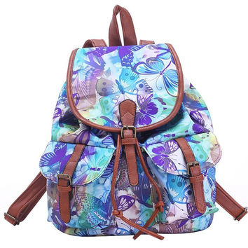 Large Canvas Butterfly Print Daypack Backpack Travel Bag