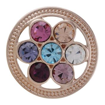 "Snap Charm Rose Gold Multicolor Stones Open Wheel 20mm Standard 3/4"" Diameter Fits Ginger Snaps"