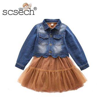 Autumn Baby Girls  Pleated Cute Style Fashion Jeans clothes Dress Long Sleeve in Baby Girls Clothes Wedding Party Princes S8805