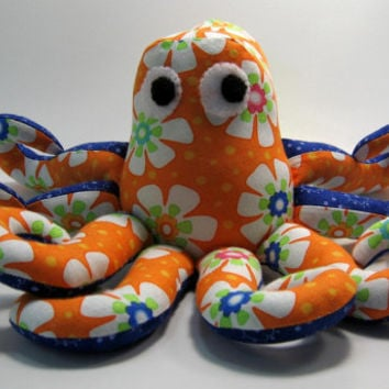Mabel the Octopus, stuffed animal, small, cotton fabric, orange flowered