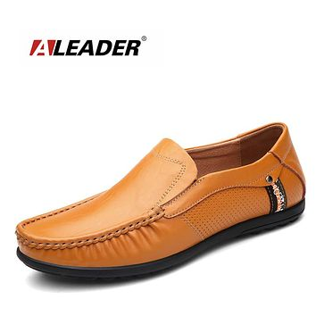Mens Genuine Leather Shoes Men Flats Shoes Casual Loafers Fashion Moccasins Slip On Driving Shoes Social