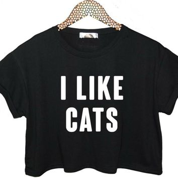 I LIKE CATS Letters Print Women Summer Crop Top Short t shirt Sexy Slim Funny Top Tee Hipster Black White ZT20-13