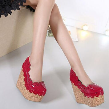 MANMIT8-Free shipping imitation wood grain single shoes women platform pumps fashion wedges high heels trifle zapatos mujer 16cm