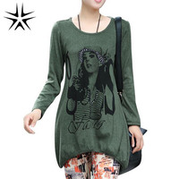 NEW Fashion Design Tops  Autumn Lady Loose T-Shirts Plus Size L-4XL Beauty Print Women Casual Tees