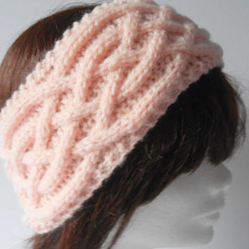 Knitted Headband. Knit Ear Warmer. Wide Headband. Knit Cable Ear Warmer. Winter Headband. Gift for Her. Pink Headwrap. Winter Accessories
