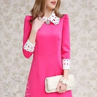 Kawaii Lolita Flower Collar Slim Fit Long Sleeve Dress - Rose Red, Blue or Black - S M L XL from Tobi's Finds