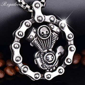 Regalrock Steampunk Jewelry Skull Engine Motorcycle Lost Soul Chain Biker Pendant Necklace