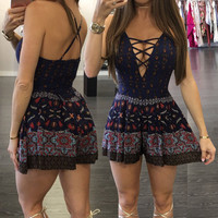 Boho Floral Crisscross Front Strappy Playsuit