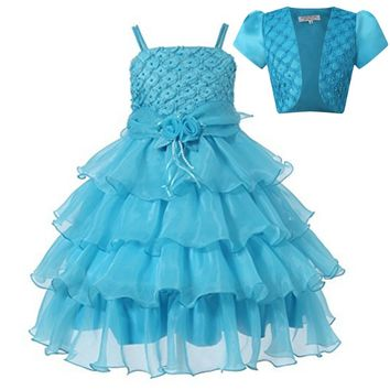 New Girl Dress Ceremony Summer Sleeveless V-neck Princess Dresses Teenagers Girls School Prom Gowns Dresses Kids Formal Clothes
