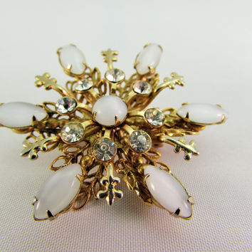 Vintage Layered White Snowflake Brooch