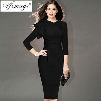 Elegant Ruffle Sleeve Ruched 3/4 Sleeve Work or Cocktail Party Stretch Bodycon Pencil Sheath  Dress