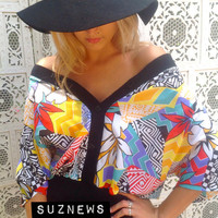 80's Abstract Geometric Bright Art Print Silky Oversized Boxy Tropical Colors Top with Button Front  //SuzNews//