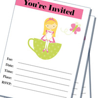 Tea cup Party - Birthday - blank -  Printable