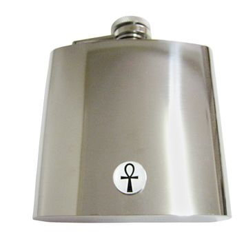 Round Ankh Cross Pendant 6 Oz. Stainless Steel Flask