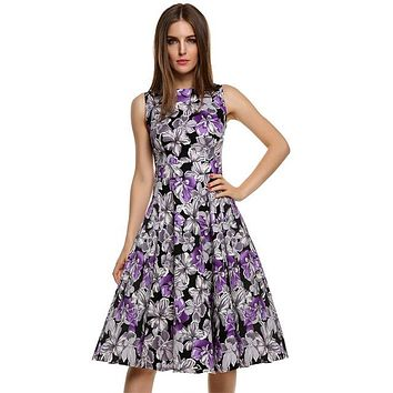 Floral Swing Summer Dress in Black with Purple and White Flowers