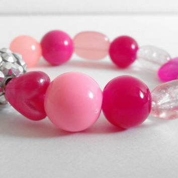 Pink Stretchy Glass and Acrylic Beaded Bracelet with a Mixture of Shapes, Sizes and Tones of Pink