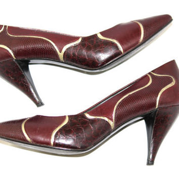 SALE Vintage Leather Heels by Nina. 60s Tapered Heels. Oxblood. Burgundy. Bronze. Mad Men. Size 7M. Valentine's Day. Party Shoes.