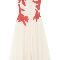 Tory Burch | Codie floral-appliquéd tulle dress | NET-A-PORTER.COM