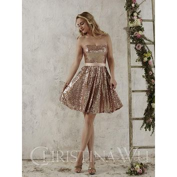 Short Sequind Rose Gold Bridesmaid Dresses 2017 Strapless A Line Mini Maid Of Honor Plus Size Country Dresses 10291146