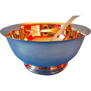 Silverplate Punch Bowl and Ladle Revere Style
