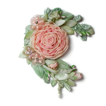 Ribbonwork Roses Pink Ribbon Work Flower Pin Applique Hair Clip