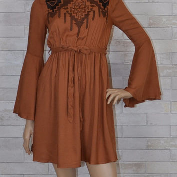YA Los Angeles Embroidered Bell Sleeve Dress - Cinnamon