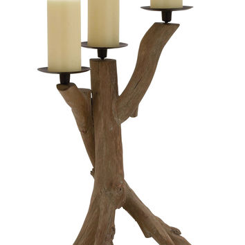 The Unadorned Wood Metal Candle Holder